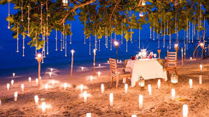 beach romantic dinner table two sea candelight thailand