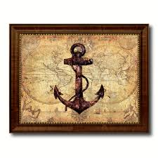 anchor vintage nautical map home decor wall art livingroom