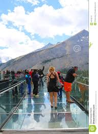 Jasper National Park Canada Map by Tourists At The Glacier Skywalk In Jasper National Park Canada