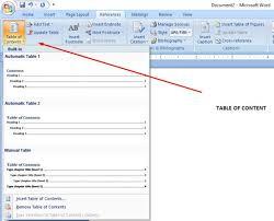 membuat daftar isi table of contents di word 2007 cara membuat daftar isi otomatis dan manual di microsoft word 2007