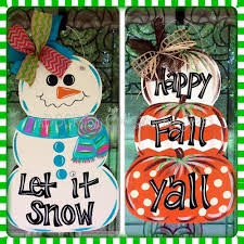 etsy thanksgiving decorations reversible snowman pumpkin stack door hanger by