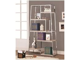 Bookcases With Ladder by Coaster Bookcases Tapered Chrome Bookshelf With Staggered Wood