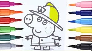 draw peppa pig coloring pages peppa pig firefighter