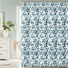 veria shower curtain in teal white bed bath beyond