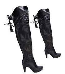 womens boots uk size 2 black knee high heel the knee tassel studded