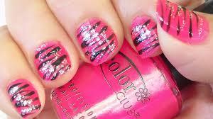 pink and black zebra stripes nail art tutorial youtube