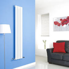 milano alpha white vertical single slim panel designer radiator