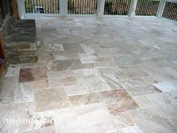Outside Tile For Patio Da Vinci Travertine Tile Traditional Porch Providence By