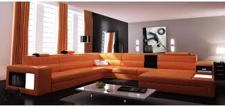 Orange Leather Sectional Sofa Polaris Orange Leather Four Contemporary Large Sectional Sofa