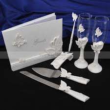 guest book and pen set butterfly toasting flutes guest book and pen set with serving set