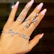 hand finger rings images Elegant wedding jewelry set made with multi faceted cz diamonds jpg