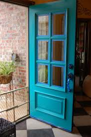 Light Turquoise Paint turquoise front door beyond the screen door
