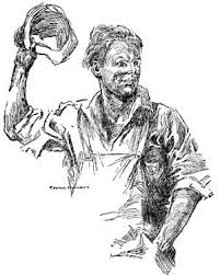 public domain images 20 line drawing of man in overalls waving his hat