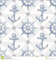 seamless nautical background with hand drawn eleme stock