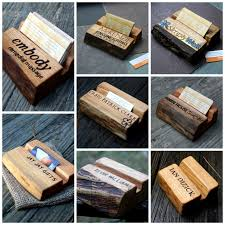wood gifts personalized business card holder rustic live edge wood unique