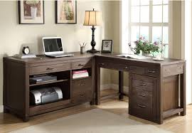Desk With File Cabinet Sterling Workstation Desk With L Shape Decor Combined Hardwood