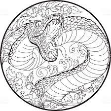 tattoo design snake with line thai flower stock vector art