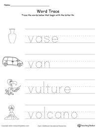 trace words that begin with letter sound v myteachingstation com