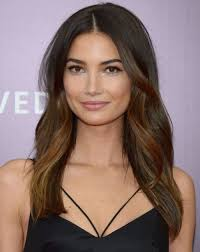 medium length hairstyles for hair parted in middle with bangs lily aldridge s long brown wavy hair with middle part hair