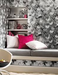 Bedroom Ideas For Teenage Girls Black And White Mesmerizing Black White Gray Butterfly Wallpaper Decoration In