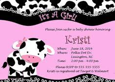cow baby shower invitation with chevron print baby shower