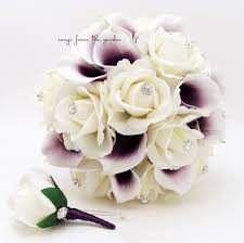 picasso calla purple white real touch bridal bouquet picasso calla