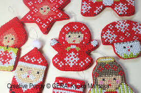 gera by kyoko maruoka mini christmas ornaments cross stitch