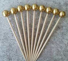 40 8mm gold glass pearl cocktail party picks hourderves party