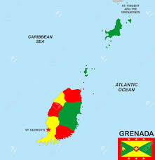 Flag Of Grenada Very Big Size Illustration Grenada Country Map With Flag Stock