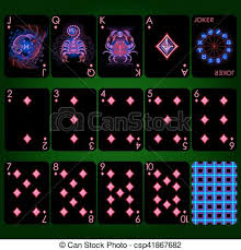zodiac cards cards series neon zodiac signs diamond suit vector