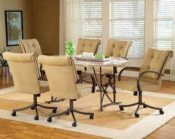 kitchen table and chairs with wheels upholstered dining chairs with casters fabric armless room kitchen