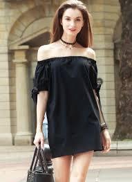 black s self tie cuff off shoulder casual dress chicuu