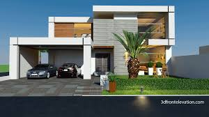Single Story Flat Roof House Designs 3d Front Elevation Beautiful Modern 1 Kanal Home 3d Front