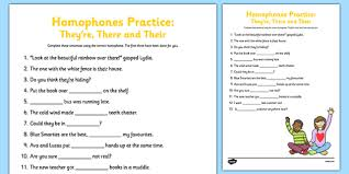 homophones practice worksheet they u0027re there their homophone