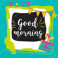 good morning typography hand lettering text solated on colorful