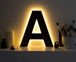 Decorative Led Lights For Homes Wooden Letter Lighted A Decorative Letter Light By Botanikastudio