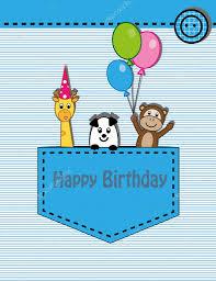 cute happy birthday card with giraffe monkey and panda u2014 stock