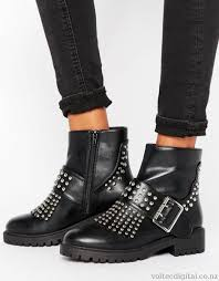 womens biker boots nz missguided fringe stud and buckle biker boot boots black up