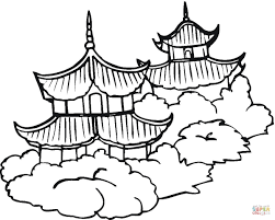 pagodas coloring page free printable coloring pages