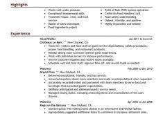 Waiter Resume Example by Splendid Design Inspiration Server Resume Examples 14