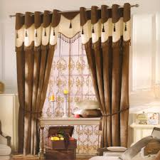 dark coffee chenille modern curtain fabric no valance