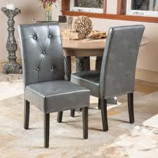 Leather Dining Chairs Canada Grey Leather Dining Chair Set Of 2 Great Deal