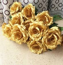 gold flowers 16pcs single stalk camellia roses gold silver colors for