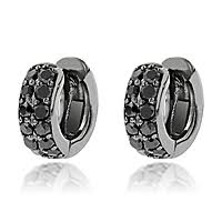 black diamond hoop earrings carat black diamond hoops 14k gold huggie earrings by luxurman