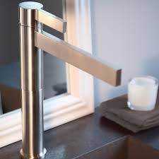brushed chrome designer bathroom faucet
