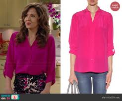 diane furstenberg blouse wornontv daniela s pink rolled sleeve blouse and printed pencil