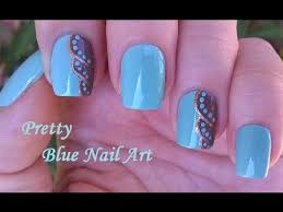 light blue nail art in brown u0026 gold diy elegant dot nails design