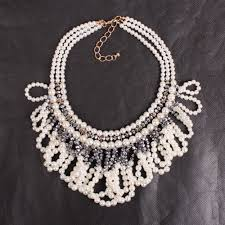 chunky pearl fashion necklace images 2018 new design fashion big statement pendant choker collar chunky jpg