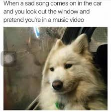 Music Video Meme - when a sad song comes on in the car and you look out the window and