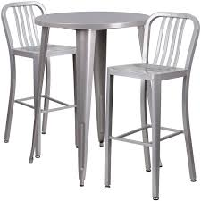 silver metal bar table ihome nicollet round 30 silver metal table set w 2 vertical slat